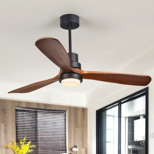 """Cottage 52"""" LED Ceiling Fan with Light 3 Dark Walnut Blades Glass Shade Ceiling Fan with Remote Control"""