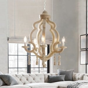 Cottage Style Carved Wooden 5-Light Chandelier with Candle Shaped Light Metal White