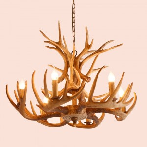Cottage Style Faux Deer Antler Resin Branch Chandelier with 2-Tier Decorative Antlers