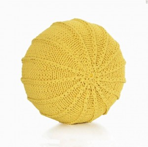 Cotton Craft - Hand Knitted Cable Style Dori Pouf Floor Ottoman - 100% Cotton Braid Cord - Handmade & Hand Stitched Pouf Round