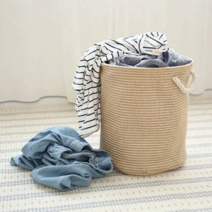 Cotton linen art storage bucket clothes basket laundry basket debris and dirty clothes basket large folding storage basket