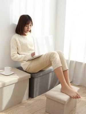 Cotton rectangular storage stool stool can sit adult sofa stool shoe bench home storage box multi-function