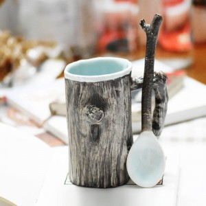 Country Rustic Ceramic Uneven Tree Bark Mug with Twig Designed Spoon Distress