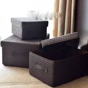 Covered storage box thickening imitation grass woven storage basket desktop clothing storage box large drawer