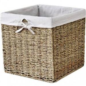 Crafts Creative Square Storage Basket Oil Straw Folding Organizer Clothing Storage Basket Non-vine Bookcase Basket