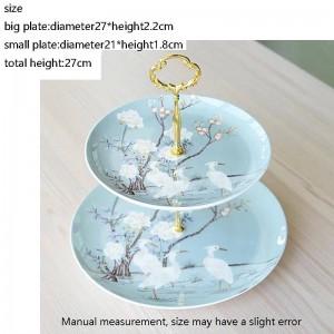 Crane Pattern Ceramic Fine Bone Double Layer Fruit Plates Home Garden Dessert Pastry Dish Wedding Party Cake Big Saucer
