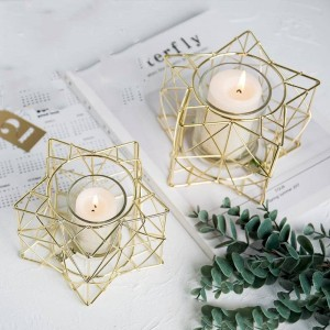 Creative Candlestick Metal / Glass Plant Holder Romantic Candlelight Dinner Aromatherapy Candle Night Light Decoration Crafts