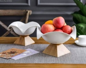Creative ceramic fruit bowl large fruit bowl Nordic household modern living room snacks storage basket bamboo base ceramic plate
