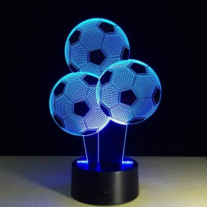 Creative Football night lights 7 Colors Changing Balloon Shape 3D LED Illusion lamp 3D Visual Light for football fans Gift