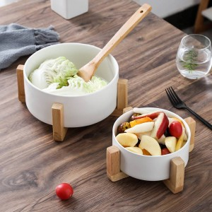 Creative fruit salad bowl Household ceramic soup bowl Soup pot Large snacks instant noodle bowl With wooden frame
