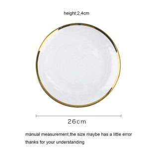 Creative Glass Plate Gold Rim Dinnerware Tableware Fruit Salad Fruit Round Dish Breakfast Cake Pastry Saucer Home Decoration
