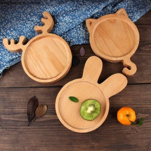 Creative lovely Japanese-style wood tray Children's plate cake bread dessert fruit salad plate kids ceramic holiday plate