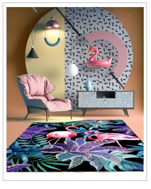 Creative Mat Flamingo Rectangle Bedroom Chair Seat Soft Cartoon Baby Crawling Mat Home Decoration Romantic Creative Colorful