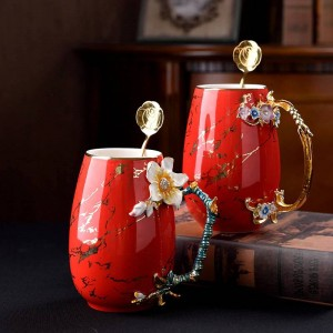 Creative Multi-Color Enamel Coffee Cup Large capacity Mug Ceramics Milk Alloy Handgrip Tea Cups Hot and Cold Drinks Water Cup
