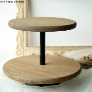 Creative Nordic style Dessert table decoration wood Cake stand Wedding props Window display snack rack Double cake pan