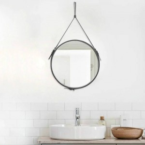 Creative Round belt hanging mirror bathroom PU leather frame makeup mirror hotel home decoration wall mirror mx3081024