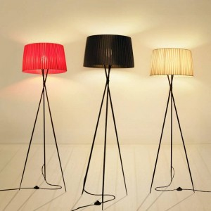 Creative simple floor lamps fabric white black red lampshade standing lamp living room bedroom home decoration floor lighting