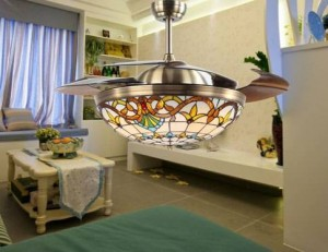Creative Tiffany 42 inch invisible ceiling fan light LED decorative loft fan light for Asial indoor lighting