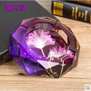 Crystal ashtray, crystal handicraft, office supplies, home decoration items, business gifts, diameter of 0.15 meters