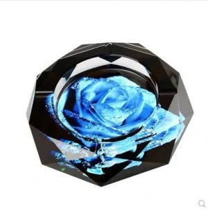 Crystal ashtray, home decor, office supplies, 10 cm in diameter and 12 cm in diameter