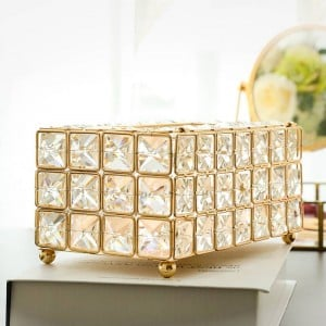 Crystal Facial Tissue Box Holder Crystal Cube Napkin Dispenser Bedroom Office Hotel Cafe Coffee House Bar