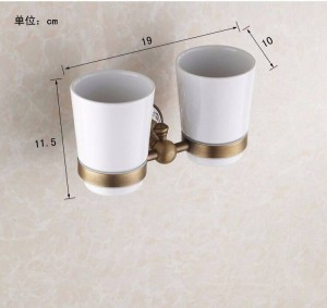 Cup & Tumbler Holders Antique Brass Toothbrush With 2 Cups Holder Wall Mounted Bathroom Accessories Toothpaste Holder HJ-1803F