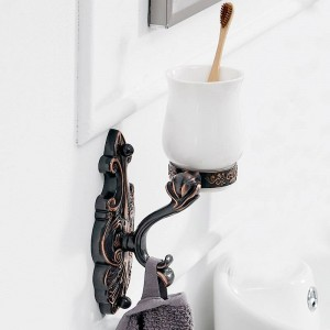 Cup & Tumbler Holders Brass Antique Tumbler Toothbrush Holder With Double Ceramics Cups Decorative Bathroom Accessories LAD-88802