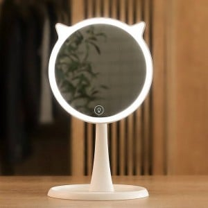 Cute LED Light Makeup Mirror household Touch Screen Makeup Mirror Professional Vanity With LED Lights Mirror Decor mx12281800