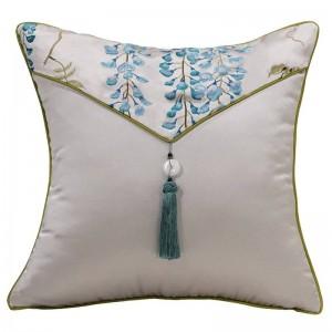 Dark Blue Noble Cushion Cover Leaf Embroidery Cojines Decorativos Para Sofa Pillow Cover Decorative Pillows Housse De Coussin