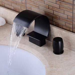 Deck three hole Double Handles Bathroom waterfall faucet Black Finished three hole bathroom faucet Crane waterfall tap XR8219