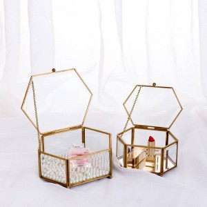 Decorative Storage Box Hexagonal Glass Geometric Jewelry Box Mirror Jewelry Eternal Flower Decoration Box Crafts