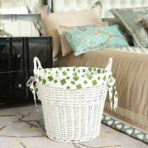 Derlook Large Rattan Basket Laundry Dirty Clothes Storage Basket Clothing Toys Storage Living Room Bathroom Decoration