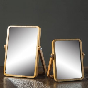 Desktop makeup mirror simple solid wood vanity mirror portable wooden folding desktop mirror wx8281415