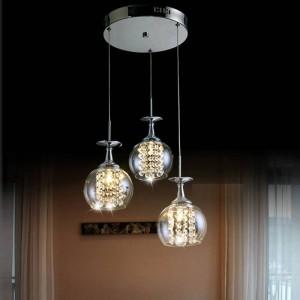 dining room hanging glass pendant light Master bedroom tready wine cup crystal pendant lamp led lampara Bar kitchen indoor light