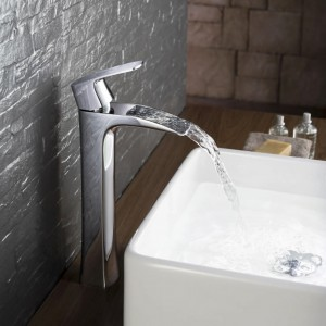 Disem Single Hole 1-Handle Waterfall Bathroom Vessel Sink Faucet Polished Chrome Solid Brass