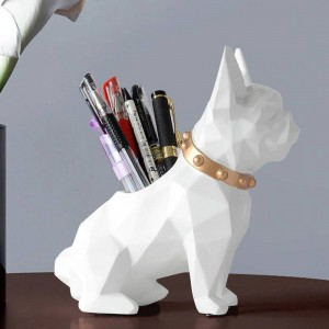 Dog Resin Figurine Pen holder desk organizer office accessories Storage desk pencil pot holder for desk pen craft gift