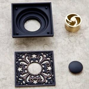 Drain 10cm Square Black Brass Shower Drain Strainer Floor Cover Art Carved Balcony Bathroom Bath Accessories Grate Waste SY-073R