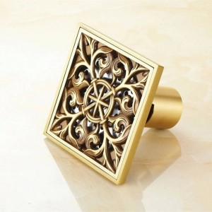 Drains 10 cm Square Antique Brass Shower Drain Hair Strainer Art Carved Bathroom Accessories Waste Grate Floor Drain Cover 8704F
