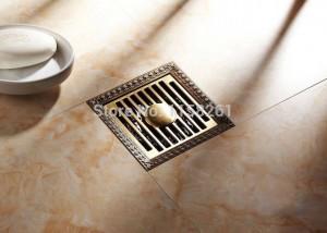 Drains 12*12cm Antique Brass Shower Floor Drain Bathroom Deodorant Euro Square Floor Drain Strainer Cover Grate Waste HJ-8702S