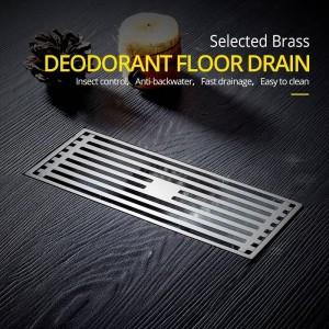 Drains Antique Brass Bathroom Linear Shower 8*20cm Floor Drain Wire Strainer Art Carved Cover Waste Drain Bathroom Fitting B8029