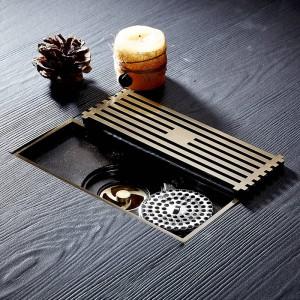Drains Chrome Brass Bathroom Linear Shower 8*20cm Floor Drain Wire Strainer Art Carved Cover Waste Drain Bathroom Fitting B8029