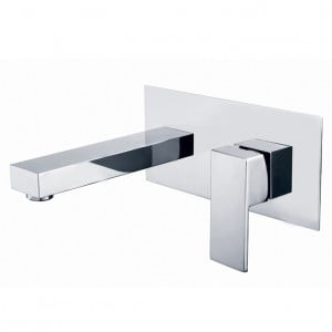 Dree Contemporary Single Handle Wall Mounted Bathroom Sink Faucet in Polished Chrome Finish Solid Brass