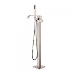 Dree Modern Floor Mounted Tub Filler Brass Single Handle Freestanding Bathtub Faucet with Handheld Shower Brushed Nickel