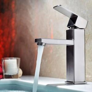 Dree Modern Single Hole 1-Handle Stainless Steel Faucet for Bathroom Sinks in Brushed Nickel