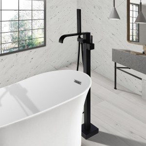 Dree Modern Waterfall Spout 1-Handle Floor Mounted Freestanding Bathtub Faucet with Handheld Shower Matte Black Solid Brass