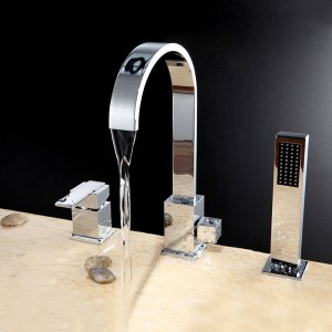 Dree Three Hole Deck Mounted Roman Tub Faucet with Handheld Shower Polished Chrome Solid Brass
