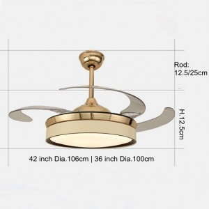Electric fan Pendant lights Led plated gold for living room bedoom lighting and Fan wind Two kinds function fan LED drop light