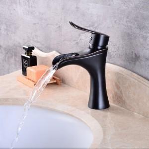 Elegant Deck Mount Waterfall Single Handle One-Hole Antique Black Bathroom Sink Faucet Solid Brass