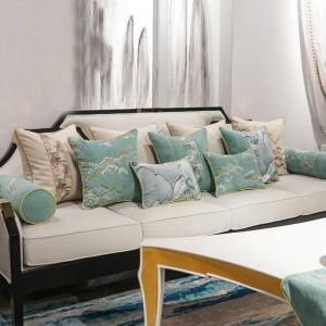 Elegant Landscape Cushion Cover Embroidery Pillow Cover Grey Green Yellow Beige Cojines Decorativos Para Sofa Housse De Coussin