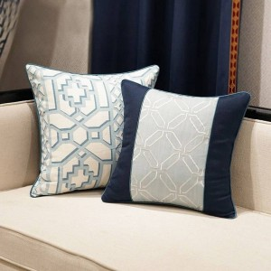 Elegant Nordic Cushion Cover Geometry Blue Luxury Jacquard Throw Decorative Pillow Car Cover Housse De Coussin Home Textile Gift